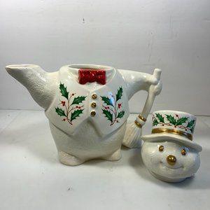 Lenox Holiday - Lenox Holiday Snowman Teapot Christmas Holly Berry
